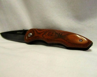 Custom Engraved Pocket Knife - Rosewood with Pocket Clip