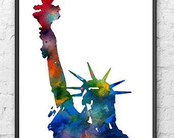 Statue of Liberty Art Print New York City, Watercolor Painting Skyline, NY Wall Art Decor - 405