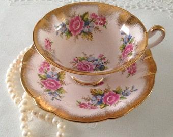 Pink E Brain Foley China Tea Cup & Saucer