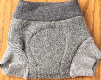 Upcycled Wool Shorties, 6-12 Months, Grey with Soaker, Cashmere