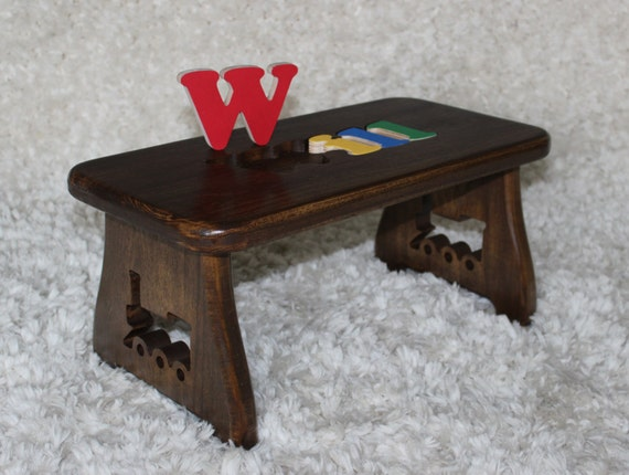 Name Puzzle Stool Dark Walnut Finish Step Stool New Baby