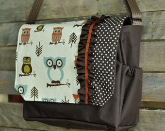 Messenger bag, Owl messenger bag, Owl diaper bag, seat belt strap, diaper baby bag, stroller bag, book bag, travel bag, iPad bag
