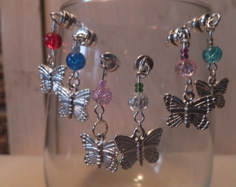 Stemless Butterfly Wine Charms - Set of 6