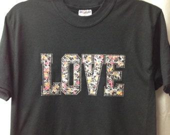 """Black Tshirt with Rhinestones """"LOVE"""""""