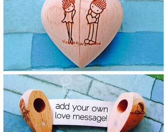 Wooden Heart with Secret Compartment and Scroll-Boy with Heart Design