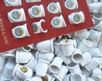 Vintage Large lot of 132 White Souvenir Thimbles, Porcelain Ceramic Sewing Thimbles, Asemblage Arts