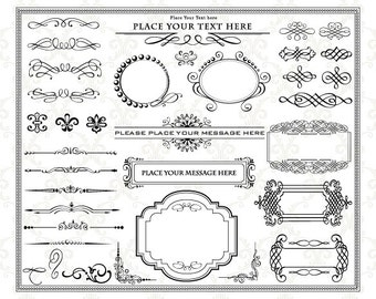 Instant Download Digital Frame Ornate Clip Art Flourish Swirl Frame Border Clipart Scrapbook Embellishment Frame Border Decor Element 0098