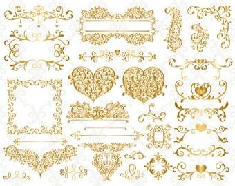 Gold Digital Flourish Swirl Border Frame Clip Art Gold Border Frame Clipart Gold Flourish Swirl Heart Scrapbook Frame Embellishment 0146