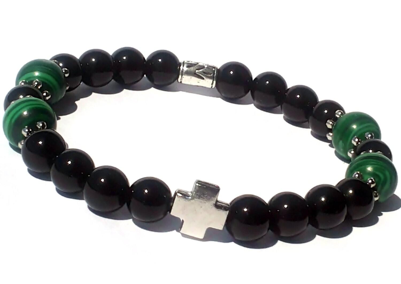 mens onyx bracelet green malachite s beaded bracelet