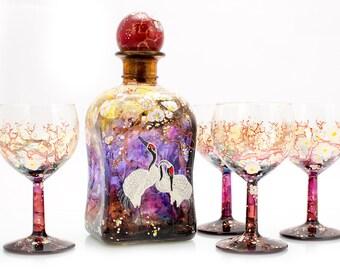 "Uniqe wine set ""Cranes"""