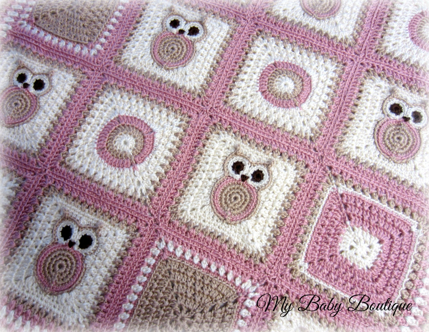 Crochet Owl Baby Blanket : Owl Baby Blanket Crochet Pattern Throw by MiBabyBoutique