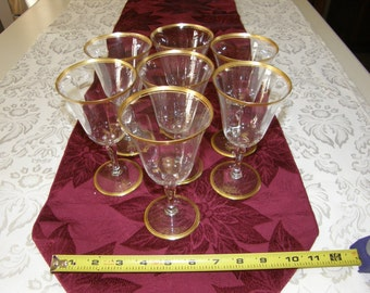 Tiffin Franciscan Saturn Styled  Wine Glasses Cut Crystal Stemware Gold  Set of 7