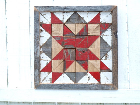 wooden quilt block, salvaged barnboards quilt, farmhouse decor