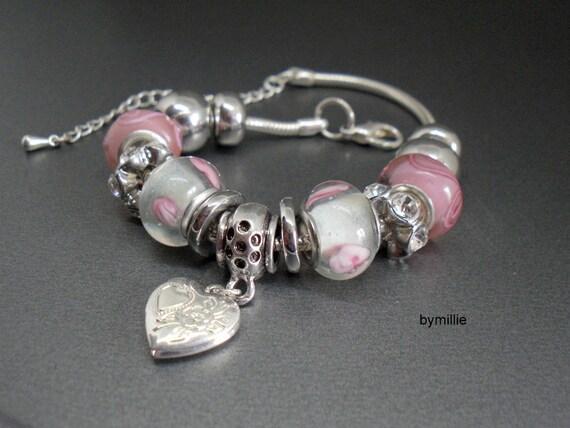 Bracelet snake chain charm bracelet pink lampwork glass charm bracelet