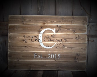 Guest Book Sign, distressed, Established Sign, The ___ last name Sign, Rustic Sign, Rustic Decor, Rustic Wedding, Sign with Initial & Date,