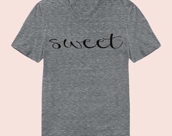 Sweet - Women's Slim Fit TShirt, Graphic Tee, American Apparel, Short Sleeve Shirt, T Shirt