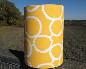 Custom Yellow and White Small Drum Lamp Shade