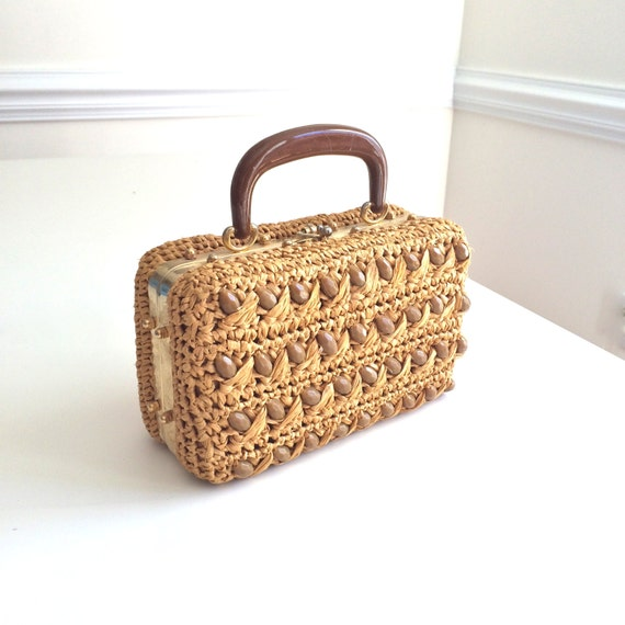 Vintage Italian Beaded Handbag Straw Raffia By