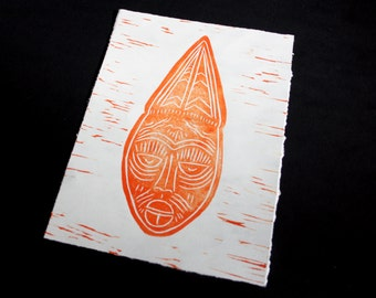 African Mask Linoprint - 3 of 3 - Limited edition