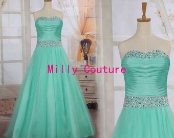 prom dresses, mint green prom dress, long prom dresses, formal dresses, quinceanera dress, Homecoming Dress, prom gown, ball gown