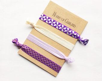 Love of Purple set of 4 FOE hair ties - No Crease hair ties - Girls hair ties - FOE hair ties - Hair accessories - Ponytail - Hair Elastics