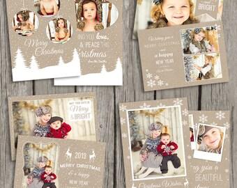 Holiday Card Templates - Christmas Card Templates - Kraft Christmas Templates - Photography Photo Cards - CS09