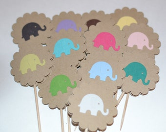 12 Elephant Cupcake Toppers, Baby Shower Cupcake Toppers - Pick Your Color