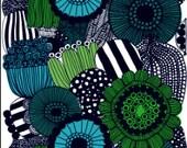 "Marimekko Siirtolapuutarha cotton fabric, 1/2 yard , 18"" x 56"" 46cm x 140cm , from Finland, blue green"