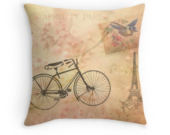 Pink Pillows, Bicycle Decor, Shabby Chic Decor, Paris Cushion, Paris Decor, Eiffel Tower, Pretty Pillows, Pink Cushions, Spring Decor