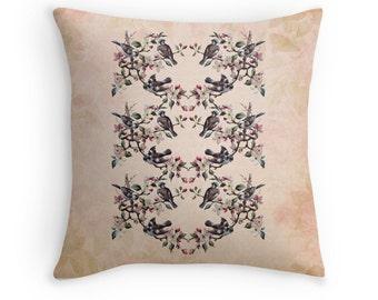 Swallows, Bird Cushion, Bird Throw Pillow, Cherry Blossoms, Birds in Spring, Pink Throw Pillow, Bird Decor, Vintage Decor, Victorian Decor