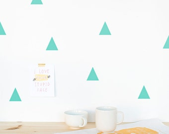 Triangle Wall decal Mint / Wall Triangles Vinyl Sticker / Wall Triangles Home decor / Triangle pattern mint green / Geometric wall decal