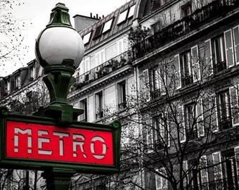 Paris Metro in Color, Paris, France, Fine Art Photography, Paris Photography, Wall Decor, Home Decor, Paris Print, Art Print, Monochromatic