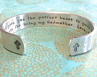 Baptism | Sponsor | Godmother Gift - God gave you the perfect heart to guide me. Thank you for being my Godmother. Hand Stamped Bracelet