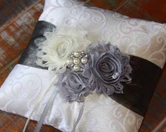 Ring Bearer Pillow, Silver Ring Bearer Pillow, Silver Ring Pillow, Shabby Chic Ring Bearer Pillow, Ring Pillow, YOUR CHOICE COLOR