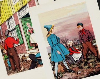 Lovely SET of TWO 1940s children illustration vintage print. Kids in the countryside and cottage