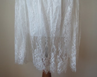 Chic Floral Lace Skirt White Color