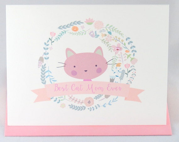 Best Cat Mom Ever Mother's Day Greeting Card from the Cat Personalized with Matching Colored Envelope, Seal, and Postage Stamp