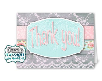 Shabby Chic THANK YOU notecard, #021 coordinating matching, Instant Download