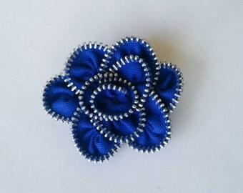 Zipper Flower Brooch- Blue  Rose