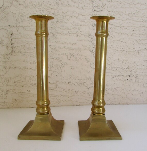 Pair of vintage brass candlesticks elegant by for Decorative crafts inc brass