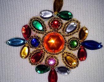 Sequins & Beaded Gold 16 Jewels Applique LAST ONE