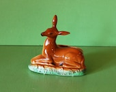 Ceramic Deer Planter, Vintage Deer Figure Vase, Cameron Clay Products Doe Planter