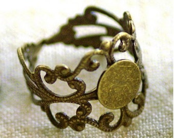 SALE**Summer Clearance**Brass Ox Lace Filigree Ring with Setting