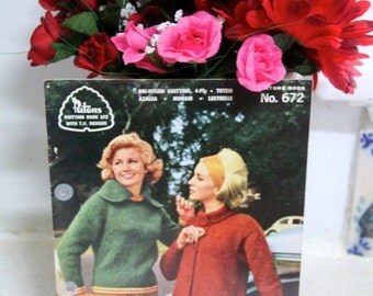Vintage Knitting pattern - Patons knitting book no 672 with TV designs