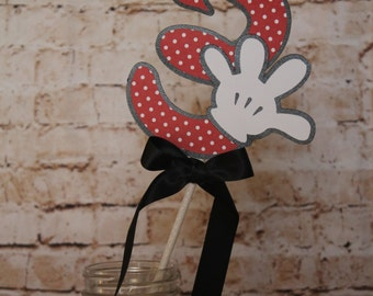 Minnie Mouse inspired  Birthday Party Number  Minnie Mouse number Wands ,Table Decoration