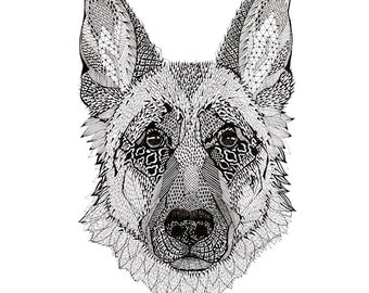 A3 poster with a dog print. Great gift! For your home or cottage.
