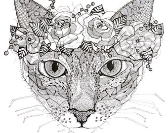 A3 poster with a cat print. Great gift! For your home or cottage.