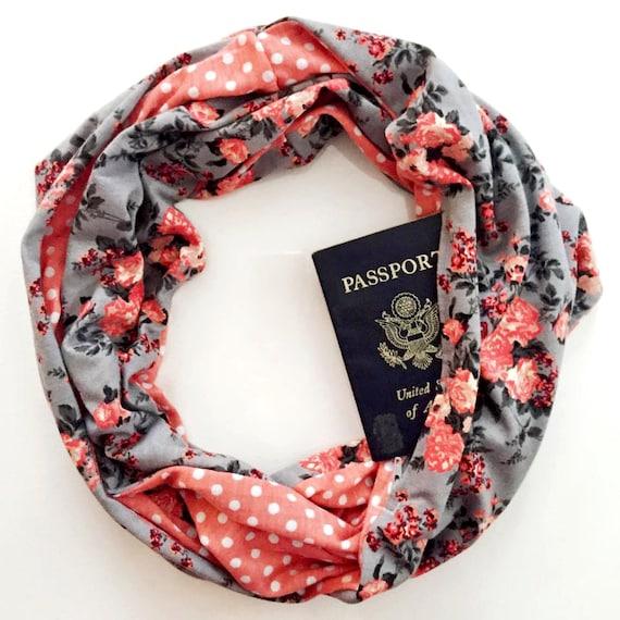 Charleston scarf w hidden pocket travel hidden pocket for Travel scarf