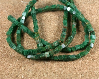 Indian Jade Cube Beads - Smooth Green 3D Cube Beads, 4-5mm, 15.5 inch strand