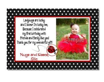 Ladybug Thank You Card Birthday Party - DIGITAL or PRINTED